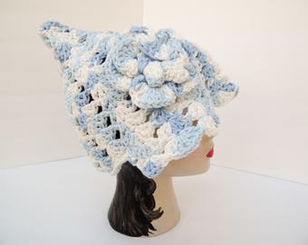 Lt Denim Pixie Shell Hat, Cotton Hat with Flower