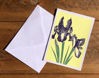 Purple Iris Design Greetings Card. Hand Screen Printed.