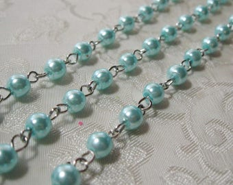 """Aqua Glass Pearl 6mm Beaded Rosary Chain Silver One Meter 39.5"""" 964"""