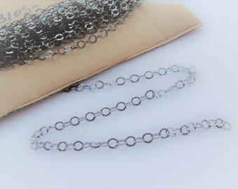 Sterling Silver Chain (Oxidized) Textured Oval Cable 3.5x4 mm,  sterling silver oxidized textured chain by the foot, silver textured chain