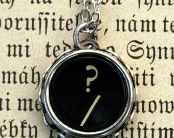 Vintage Typewriter Key Necklace- Question Mark