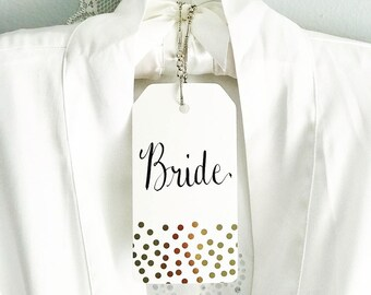 Personalized Calligraphy Wedding Bridal Hanger Tags- For Bride, Bridesmaid, Maid Of Honor Hangers