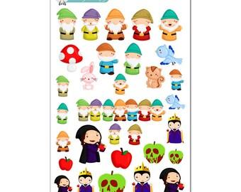 Evil Queen & Seven Dwarfs Stickers - Disney Planner Stickers