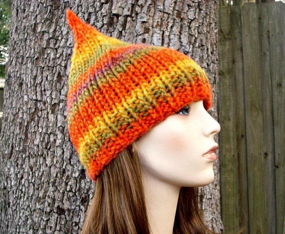 Knit Hat Orange Womens Hat - Orange Gnome Hat Autumn Yellow Green Orange Knit Hat - Orange Hat Orange Beanie Womens Accessories Winter Hat