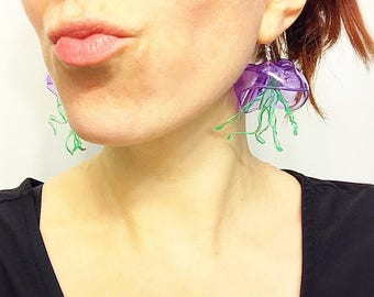 jellyfish earrings// upcycled jellyfish, recycled plastic, earrings, jellyfish jewelry, tentacle earrings, tentacle jewelry, octopus, ocean