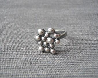 Statement ring, size O, bobble texture, oxidized black silver. FREE UK POSTAGE
