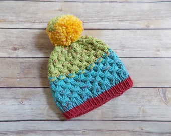 Toddler Hat, Knit Beanie, Colorful Striped Winter Hat