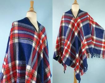 vintage plaid poncho, 1970s blanket poncho, fringe poncho, retro 70s striped sweater, vintage shawl, plaid cape, homemade poncho OSFM