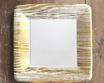 Trilogy Collection. Mod Gold Woodgrain Framed Dinner Plates. Gold Party.  White and Gold Disposable Plates.