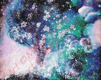 Aurora Tree (Sandy)  - emailed PDF cross-stitch chart / pattern, original art © Milenka Delic  licenced by Paine Free Crafts