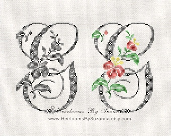 Large Antique Floral Monogram - Machine Cross Stitch Embroidery - Tropical Flower Initial - Cross Stitch Font - Floral Font G - HBS-61-G