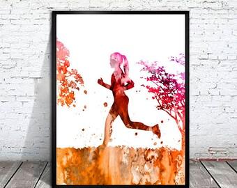 Running 2 Watercolor Print, Running art,  Run art, watercolor painting, watercolor art, Illustration, sport art, art print, sport poster