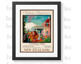 New Zealand Poster, Tongariro National Park, NZ Tourism Art, Travel Poster, New Zealand Decor, Living Room Decor, Travel gift, Kiwi Souvenir