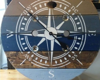 32 inch Nautical Wire Spool Clock/ Shabby Chic Wall Clock / Housewarming Gift