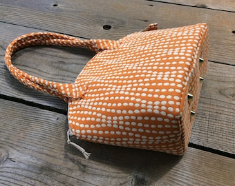 Orange and White Dots Zippered Satchel