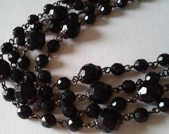 Vintage Black Plastic Faceted Bead and Chain Link Flapper Length Necklace Mothers's Day