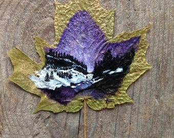 Imperial Winter | Leaf Painting | Northern Winter | Leaf Art | Winter | Snow | Purple Stars | Mountain