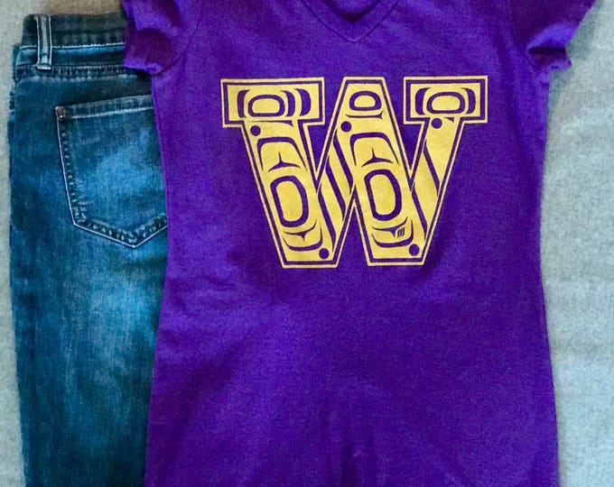 NW Coast Haida Gold W design on Purple Hoodies and Tees