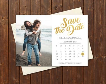 Gold & White Photo Save the Date Calendar/Printable Save the Date Postcard/Save the Date Announcement/Printable Save the Date Card