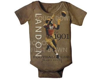 Personalized Football Bodysuit, Baby Romper Shirt, Custom Boy's Sport  One Piece, Onepiece Baby Clothing