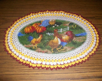 New Handmade Crochet Doily/Roosters & Hens/Pumpkins/Kitchen and Fall Decorations