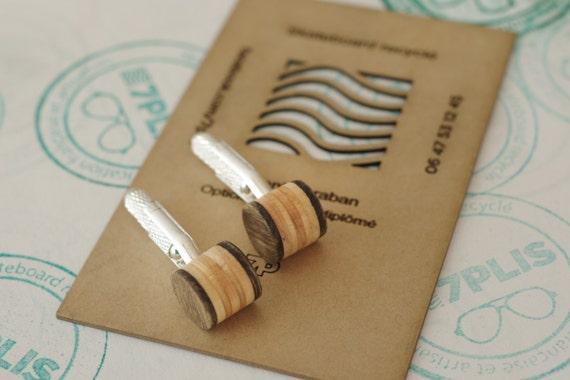 cuff links recycled skateboards handmade brown wood marron