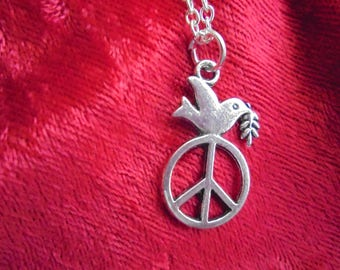 Peace and Love silver pendant