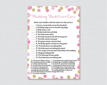 Pink and Gold Wedding Traditions Quiz - Printable Gold Glitter Bridal Shower Game - Why Do We Do That Quiz - Wedding Traditions Match 0001-P