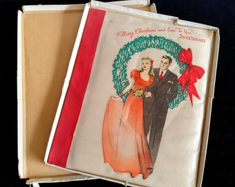 Antique Sweetheart Christmas Love to You Card Silk Printed