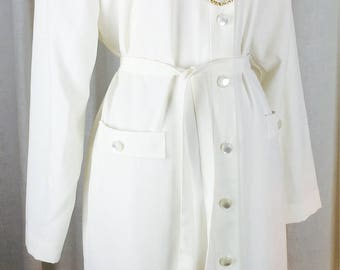 Vintage 80's amazing Halston like cream colored soft sueded button down oxford shirt belted dress