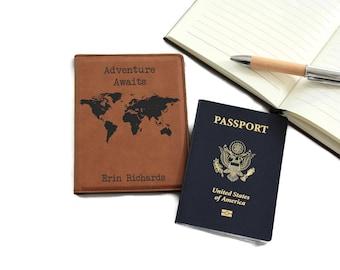 Personalized Passport Cover, Passport Holder, Passport Case, Leather Passport,  Passport Wallet, Honeymoon Gift, Wedding Gift, PTPP001