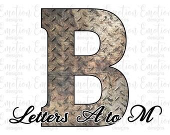 Grunge diamant plaat letters A tot M-illustraties, instant download