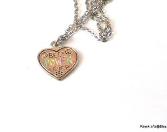 Peace Heart Necklace, Vintage Best Power 4Ever Necklace, 1970 Peace Necklace, Silvertone Necklace, 16 Inch Chain, Christmas Gift