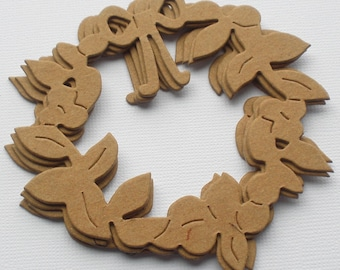 CHRISTMAS WREATH  - Bare Christmas Chipboard Die Cuts - 3 5/8""