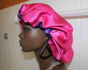 Pink Purple LUXURY SATIN BONNET/Satin Sleep Cap/Scrub Cap/ Reversible/Natural Hair