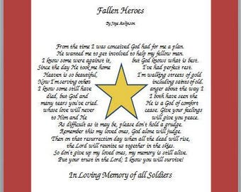 Gold Star Flag Print with Memorial Poem--Personalized