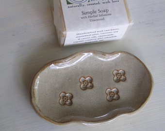 Natural Soap and Seagrove Pottery Soap Dish Set - Fluted Edge with Flowers