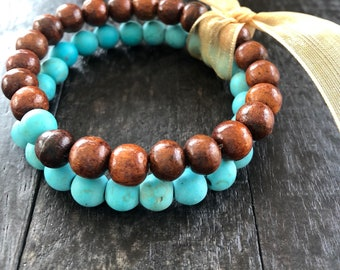 Turqoise and Teak - effe stacking stretch bracelet set in turquoise and deep brown, beads of teak wood and stone
