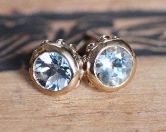 Aquamarine stud earrings, aquamarine studs, 14k gold stud earrings, March birthstone earrings, fine jewelry earrings, gift for her, Wrought