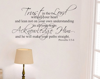 Trust in the Lord and He will direct your path Proverbs 3:5-6 Wall Decal Bible Verse Scripture Vinyl Art Church Sunday School PRO3V5-0007