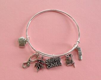 Nurses Call the Shots!/Nursing Themed Bangle Charm Bracelet