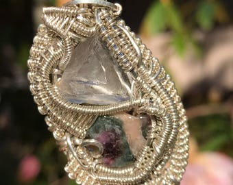 Watermelon tourmaline and calcite wire wrapped sterling silver pendant