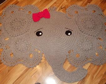 Elephant Rug - Elephant Nursery Decor - Crochet Rug - Elephant Rug Crochet - Nursery Rug - Nursey Decor - Elephant Nursery - Elephant - Rug