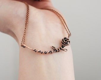 Twisted Rose Necklace, Copper, Oxidized