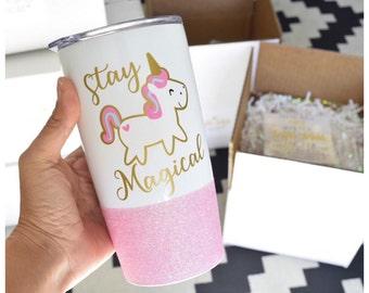 Stay Magical Unicorn Glitter Travel Mug - Unicorn Mug - Unicorn Stainless Steel Travel Mug - Vacuum Insulated Unicorn Travel Mug - Pink Mug