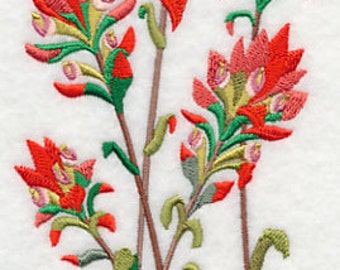 Indian Paintbrush Flowers Embroidered Flour Sack Hand/Dish Towel