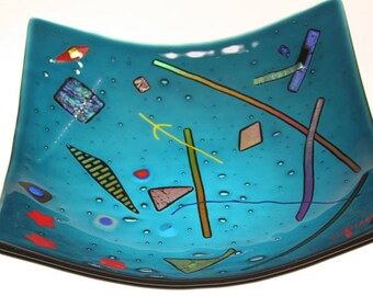 Square glass platter in an abstract pattern (PL-33)
