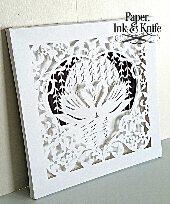 layered papercutting template swans in a beautiful ornate heart frame one layer or shadow box. Black Bedroom Furniture Sets. Home Design Ideas