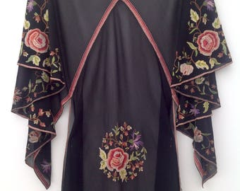 RESERVED Rare 1920s chiffon cape jacket floral embroidered antique vintage