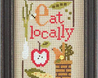 Lizzie Kate Green Flip-It Series - Eat Locally F96 Counted Cross Stitch Pattern with Button